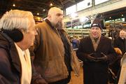 Pittsburgh Mayor Bill Peduto, right, with Braddock Mayor John Fetterman, center.