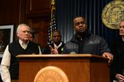 Georgia Gov. Nathan Deal, left, and Mayor Kasim Reed speak at a press conference Jan. 29 at the Georgia Capitol.
