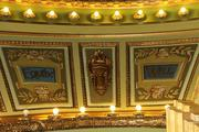 "There are nine virtues listed over the stage in Memorial Hall's theater. They include ""Manliness"" and ""Martyrdom."""
