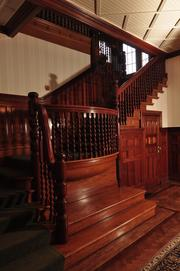 The woodwork in the front entrance hall is cherry.