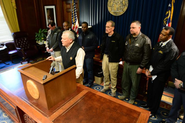 Georgia Gov. Nathan Deal speaking at a Jan. 29 press conference about the city's snowstorm.