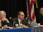 The Pennsylvania Gaming Control Board is in Philadelphia for three days to hear testimony from five development groups. Of the five proposals, just one will be awarded a casino license for the city of Philadelphia. Pictured is Gregory C. Fajt (left) and Anthony C. Moscato.