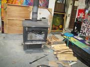 A woodstove in one of Dupree's studios.