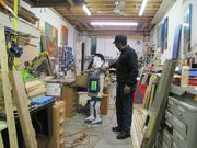 James Dupree in a wood shop in his studio complex on the 3600 block of Haverford Street in the city's Mantua neighborhood.