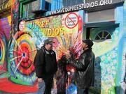 Artist James Dupree has had Dupree Studios at 3617 Haverford St. since 2005. Here he chats with a neighbor from Drexel University.