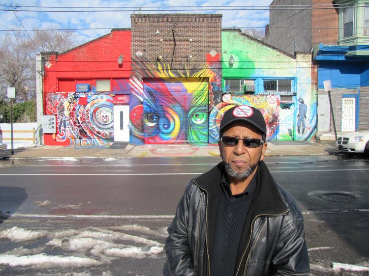 Artist James Dupree in front of Dupree Studios in the Mantua section of West Philadelphia.