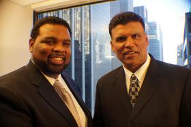 TEAM CEO Andre Farr and principal investor Anthony Munoz.