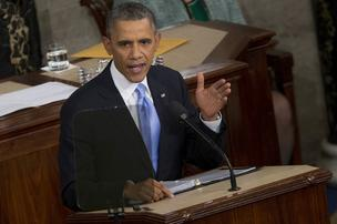 U.S. President Barack Obama delivers the State of the Union address to a joint session of Congress at the Capitol in Washington, D.C., U.S., on Tuesday, Jan. 28, 2014.