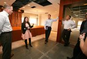 TBBJ Event Manager Darrah Winkler, second from left, gives a tour for hospitality sponsors, In-Rel Properties and Cassidy Turley concerning the logistics of the party, including parking, security, food, entertainment and check-in.