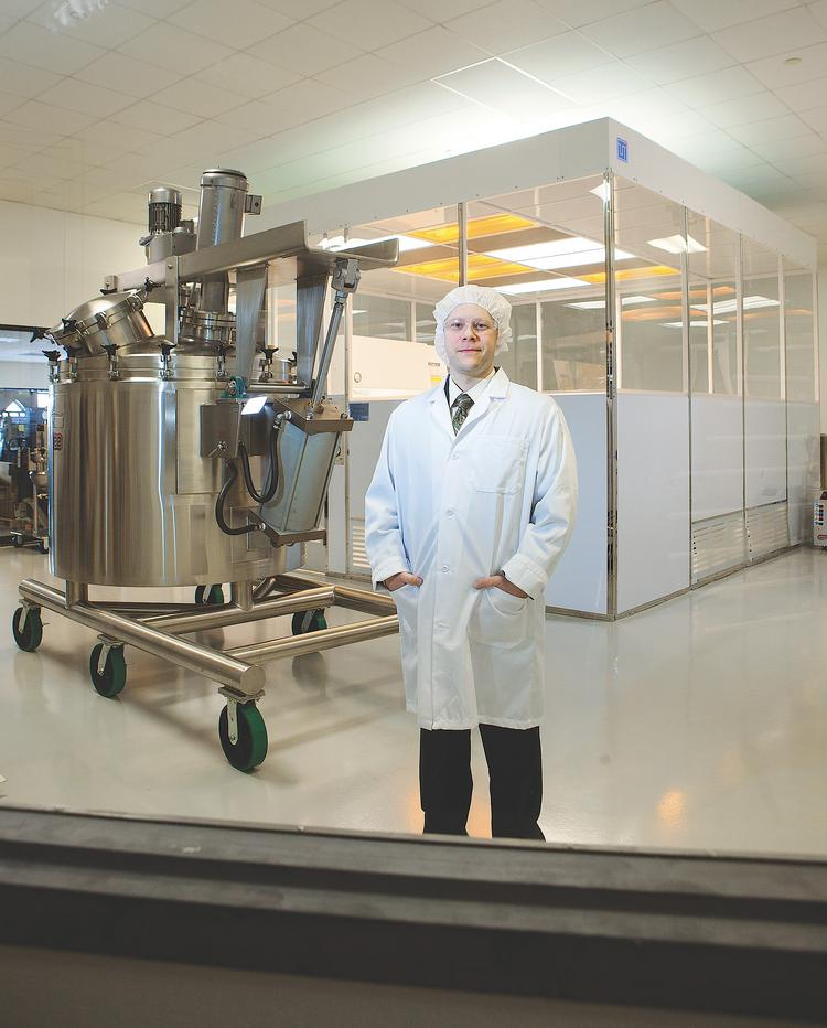 Stephen Panaro is president and CEO of QuaDPharma. He said he's hopeful that a new focus on growing the sales pipeline will result in more materials being sold in 2014, specifically those used to conduct clinical studies. In his clean room is a giant mixing vessel used to manufacture liquids or semi-solids for pharmaceutical and over-the-counter markets. The company can make batches as large as 1,000 liters or as tiny as 20 microliters, which is equivalent to 1/20th of a drop.
