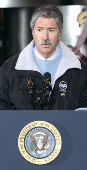 U.S. Steel Corp. President and CEO Mario Longhi addresses the crowd awaiting President Obama's arrival at the U.S. Steel Corp. Irvin Plant in West Mifflin.