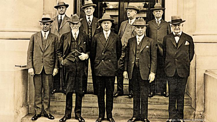 Members of the board of directors pose outside the Federal Reserve Bank of St. Louis in 1920.