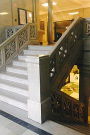 At Roger Bacon High School, the marble staircase is reserved for alumni.