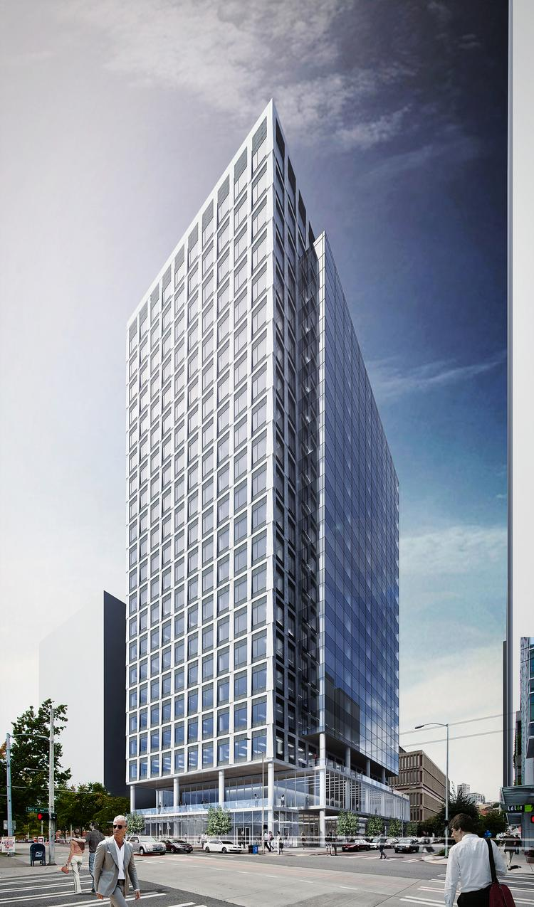 Trammell Crow Co. has applied to the city of Seattle to build this 21-story office tower in Seattle  at 1007 Stewart St. A company vice president on Thursday said the company intends to start construction before preleasing space.