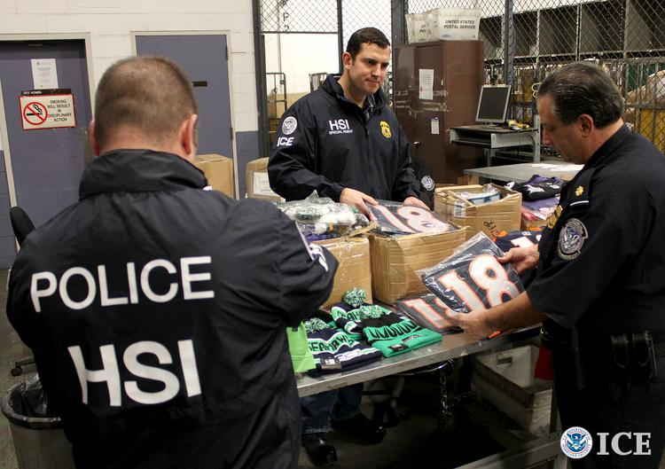 Federal agents teaming up with the National Football League seized $1.5 million in counterfeit NFL merchandise from the DHL air cargo facility at CVG last week.