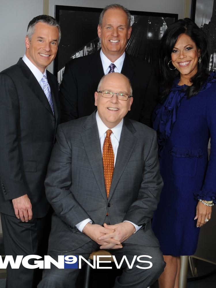 Tribune Co.-owned WGN-Channel 9's flagship 9 p.m. nightly newscast registered significant ratings growth in January.  The newscast is fronted by Mark Suppelsa (left), weatherman Tom Skilling (front center), sports anchor Dan Roan (back center) and Micah Materre.