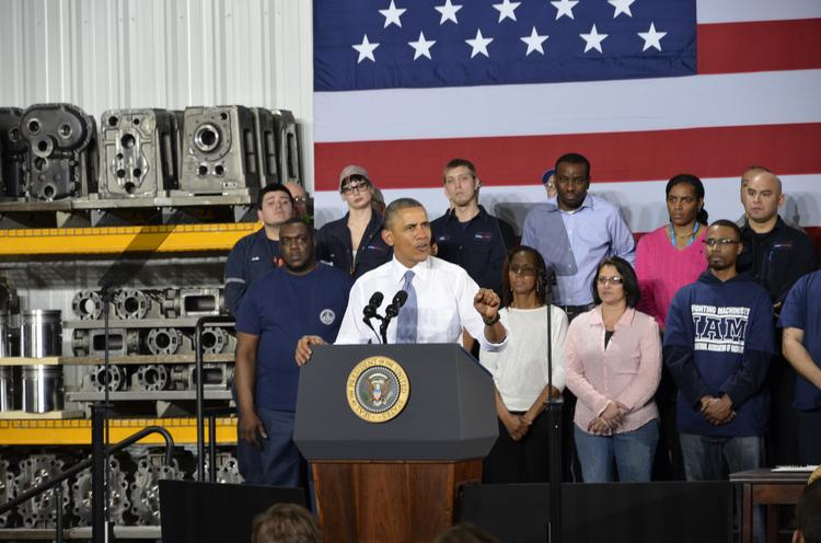 President Barack Obama visited Waukesha Thursday, where he signed an executive order authorizing Vice President Joe Biden to review the federal government's worker training program.