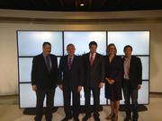 From left: Milo Medin, vice president of Google Fiber; Mayor Lee Leffingwell; Gov. Rick Perry; Council Member Laura Morrison; Kevin Lo, manager of access services.