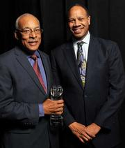 Daniel Boggan (left), director of Clorox, Alameda County Medical Center, with Wright L. Lassiter III, CEO of the center.
