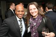 Abe Diallo of Wells Fargo (left) with a guest at the PBJ Book of Lists Power Party.
