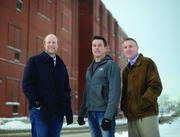 Above, from left: Fred Haberman, Dave Haider and Chris Ames are converting the former Hamm's Brewery into an urban farm.