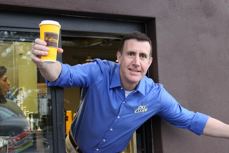 Pitchman Anthony Sullivan at the South Tampa Kahwa Coffee on Jan. 30.