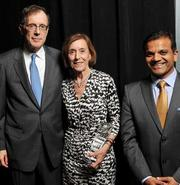 Jane Shaw, McKesson director and former Intel director, with Douglas Melamed (left), senior vice president and general counsel, Intel, and Kailesh Karavadra, managing principal, Ernst & Young.