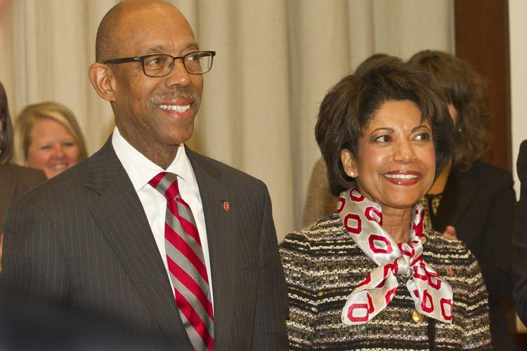 """Michael Drake will become the 15th president of Ohio State University on June 30, and says he and his wife, Brenda, plan to stay """"as long as I'm loved and we're having a good time."""""""