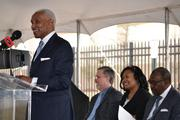Memphis Mayor A C Wharton says a few words before the ground-breaking