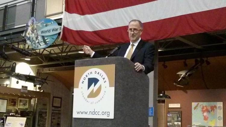 Sean Donohue, CEO of D/FW Airport, spoke at the North Dallas Chamber of Commerce breakfast Friday.