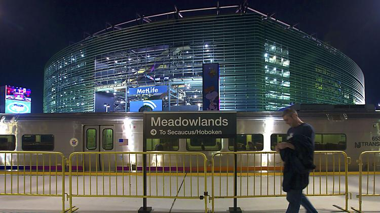 A NJ Transit train sits at the New Meadowlands stadium in East Rutherford, New Jersey.