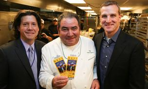 Herb Karlitz, of Karlitz and Company, left, joins chef Emeril Lagasse and David Gold of Chase at a Super Bowl dinner series.