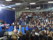 Ronald Elliott, McGavock High School student body president, introduces President Obama.