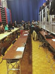 The media holding area.