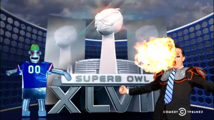 """The Colbert Report attempts to skirt the NFL's heavy-handed enforcement of its """"Super Bowl"""" trademark by shifting a consonant. Here comes the """"Superb Owl."""""""
