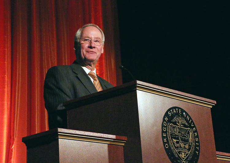 Oregon State University President Ed Ray on Friday said the school has raised more than $1 billion. He also said OSU, with 29,000 students, now has the highest enrollment of any Oregon university.