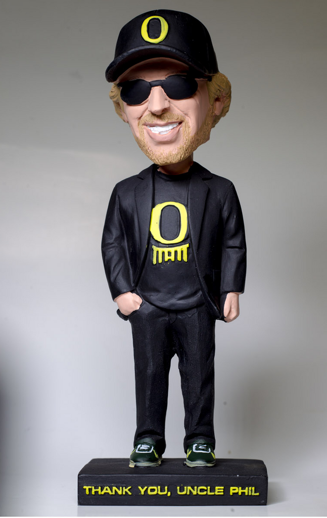 The University of Oregon gave away bobblehead dolls of Nike Inc. Chairman Phil Knight at Saturday night's men's basketball game.