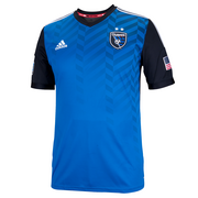 The new home jerseys of the San Jose Earthquakes. The uniforms were designed by Portland-based Adidas America, the league's official outfitter, and use the logo created by Portland-based branding agency Fiction.