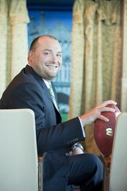 """Michael Kleber, Zilber Property Group: First job: """"After my playing days were over at UW I worked for the stadium maintenance department in between classes. I was tasked with painting the bleachers of the old fieldhouse and around Camp Randall. I'm still a poor painter to this day."""" Profession he would like to try: Coaching college football at the Division 1 level"""