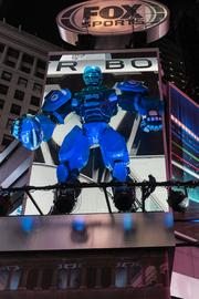 The Fox Sports studio at the NFL's Super Bowl Boulevard in Times Square, New York City.