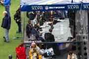 The NFL Network broadcast tent on the field.