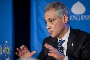 Rahm Emanuel, mayor of Chicago, speaks during an Aspen Institute event in Washington, D.C.
