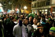 Hundreds of Seahawks fans flood First Avenue in Pioneer Square after the Seahawks win the Super Bowl.