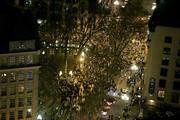 Thousands of Seahawks fans flood First Avenue in Pioneer Square after the Seahawks win the Super Bowl on Sunday. The celebration lasted for hours into the night.