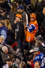 Denver fans look anxious during an ugly first half.