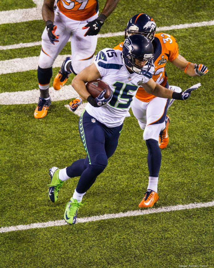 Seattle receiver Jermaine Kearse breaks free after a catch and heads into the end zone for a touchdown. The Seattle Seahawks defeated the Denver Broncos 43-8 in Super Bowl XLVIII, played Feb. 2, 2014, in New Jersey's MetLIfe Stadium.