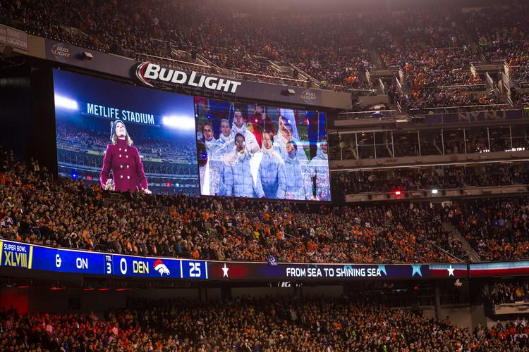 Pregame singing on the video board. The Seattle Seahawks beat the Denver Broncos 43-8 in Super Bowl XLVIII, played Feb. 2, 2014 at New Jersey's MetLife Stadium.