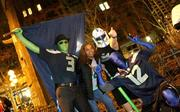 Seahawks fans poured into Pioneer Square for hours after the Seahawks won the Super Bowl Sunday night.