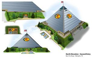 An artist's rendering of the North elevation's second entry point at the Bass Pro Shops Outdoor World at the Pyramid