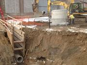 Excavation work is underway at the Maintenance and Operations Facility for an onsite water detention system.
